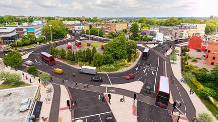 CGI Of what the Cycleway could look like at Lea Bridge roundabout .