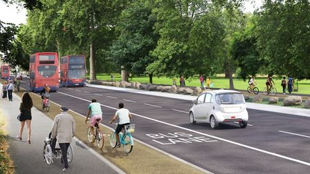 A computer-generated image of what the Cycleway could look like at Lea Bridge Road.