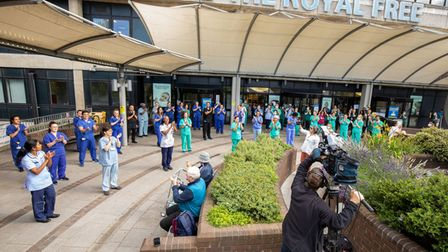 Royal Free staff celebrate the NHS' 72nd birthday in 2020