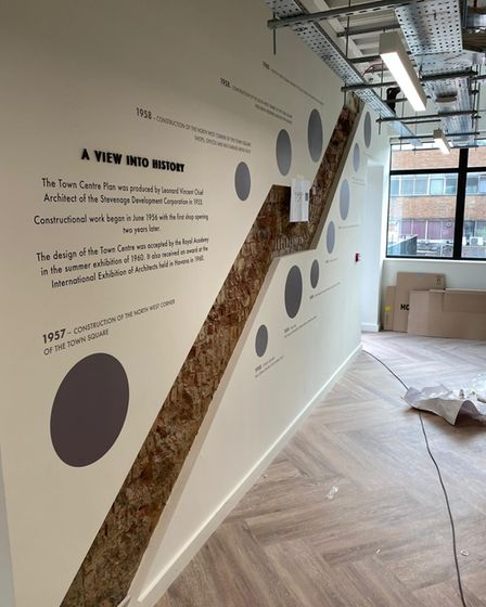 An unfinished feature wall at Co-Space in Stevenage