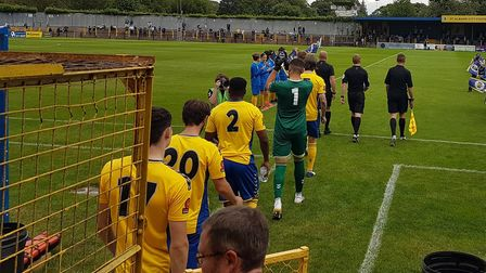 St Albans City take to the field before their win over Welling United.