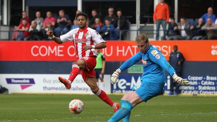 Bruno Andrade playing for Stevenage in 2015.