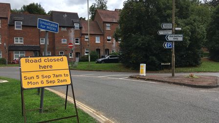A sign in Old Hatfield warning of road closures on Sunday, September 5 for the Slam Dunk Festival taking place in Hatfield