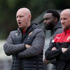 Hornchurch manager Mark Stimson during Hornchurch vs Cray Wanderers, Pitching In Isthmian League Pre