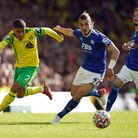 Norwich City's Max Aarons goes on the attack against Leicester City