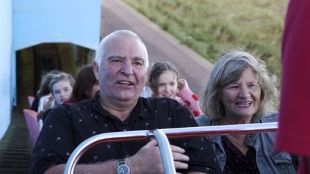 Peter and Christine Draper on a rollercoaster in Yarmouth
