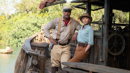 Dwayne Johnson as Frank and Emily Blunt as Lily in JUNGLE CRUISE. Photo by Frank Masi. © 2020 Disney