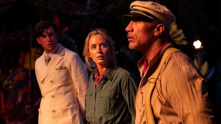 Jack Whitehall as Macgregor, Emily Blunt as Lily and Dwayne Johnson as Frank in Jungle Cruise.