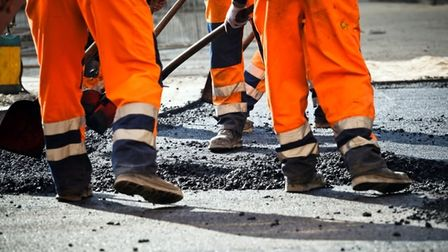 Resurfacing work is being carried out on Constitution Hill in Norwich.