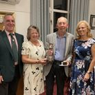Yvonne Little and Dave Millership with Royston Golf Club captainsSandy Griffin and Darren Ellis.