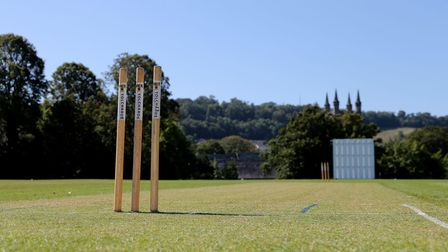 General View of the stumps during the Devon Cricket League Match between Plympton CC and Barton CC a