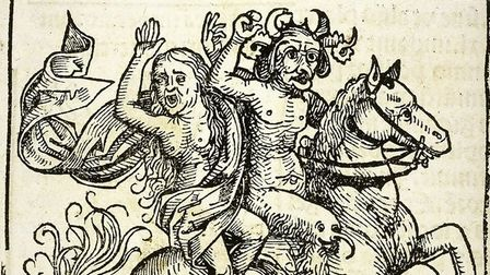 Illustration of the Witch of Berkeley being carried off by the Devil on horseback, The Nuremberg Chronicle, 1493