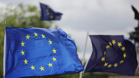 European flags fly in Parliament Square. Photograph: Daniel Leal-Olivas/PA.
