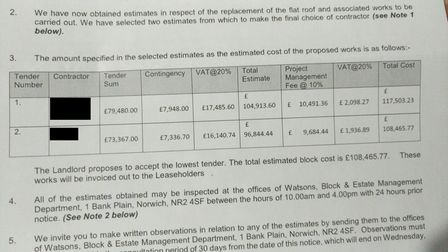 The table of estimates sent by Watsons to the leaseholders at Marlborough House