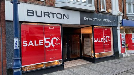 Felixstowe's Burton and Dorothy Perkins clothes store has closed
