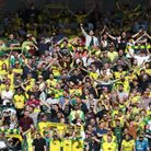The Norwich fans sing OTBC before the Premier League match at Carrow Road, NorwichPicture by Paul C