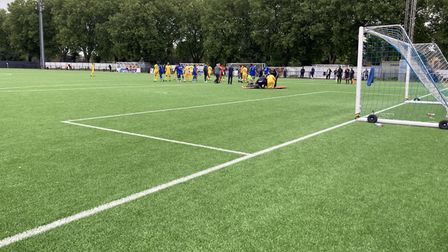 The match was stopped early in the 91st minute as Romford goalkeeper Carlos Simeon requiring treatment on a head injury