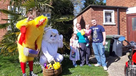 Lisa Worrell organised Easter Bunny visits in Potters Bar.