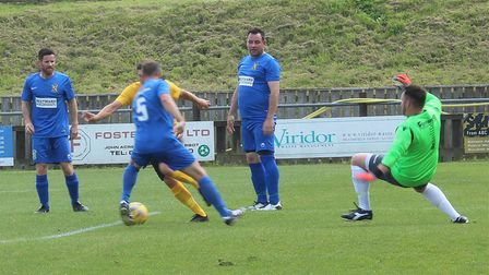 Action from the match between Buckland Athletic All Stars and a Devon and Cornwall Select XI.