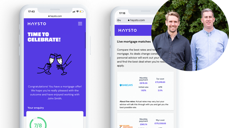 Jonathan Moulton and Paul Coss, founders of Haysto, with their new app and platform.
