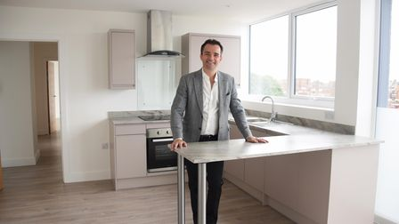 Richard Wombwell in one of the 30 flats he has developed at Crown House in Great Yarmouth. Picture: