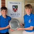 Worlebury's Will and Tom Latham with the Somerset Junior League Jamboree Trophy