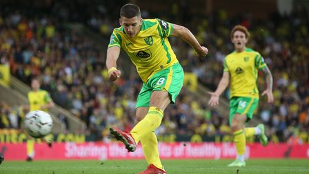 Christos Tzolis of Norwich scores his sides 1st goal during the Carabao Cup Second Round match at Ca