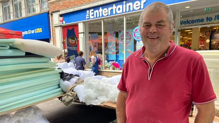 Paul Chilton at his foam stall on St Albans charter market
