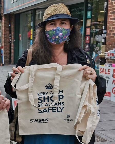 Cllr Mandy McNeil promoting safe shopping in St Albans