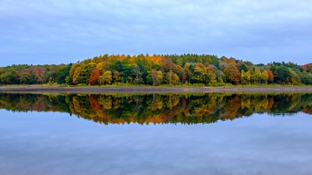 Mirrored reflection in a lake of a wooded autumn coutryside landscape, with a cloudy sky at dusk