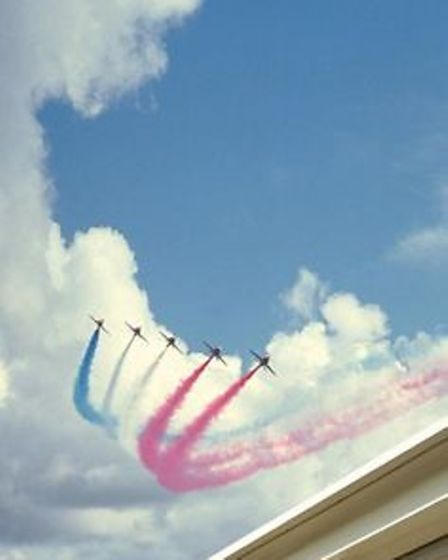 Red Arrows display in the skies over WestBeach restaurantin Bournemouth