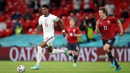 England's Marcus Rashford (left) and Czech Republic's Alex Kral in action during the UEFA Euro 2020