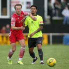 Mickey Parcell of Hornchurch and Nathan Livings of Potters Bar during Hornchurch vs Potters Bar Town