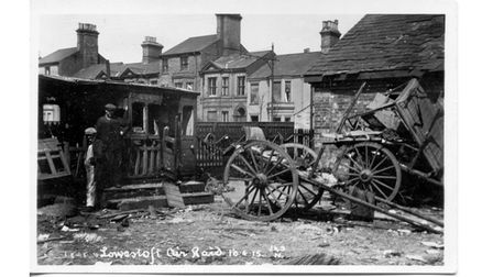 Damage to the Great Eastern Railway stables on Denmark Road Lowestoft following the 1915 Zepellin Air Raid.