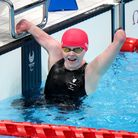Ellie Challis celebrates Silver in the Women's 50m Backstroke - S3 during the Swimming at the Tokyo