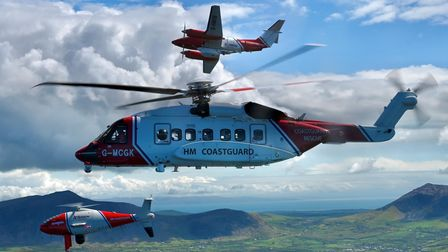 The Schiebel S-100 flying in formation with a Coastguard S92 helicopter and a King Air