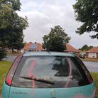 A graffitied car has been left by the side of North Walsham Road