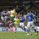 Timm Klose of Norwich scores his sides equalising goal during the Sky Bet Championship match at Carr