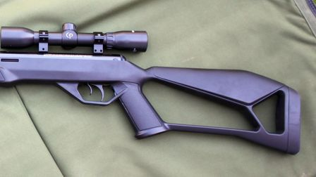 Close up of the thumbhole stock on the Crosman Fire air rifle