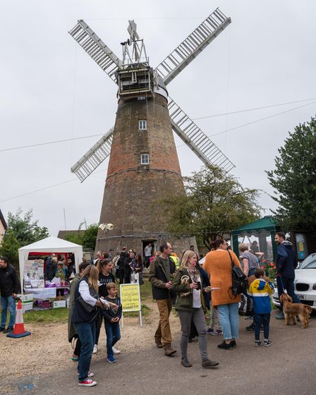 Crowds in front of Stansted Windmill, Essex