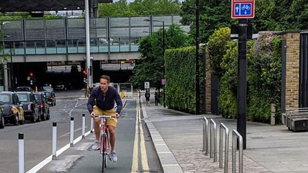 A pop-up cycle lane in Goods Way. Picture: Camden Cyclists