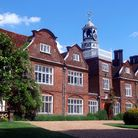 The exterior of Rothamsted Manor in Harpenden, Hertfordshire.
