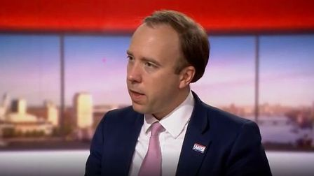 Matt Hancock appears on The Andrew Marr Show. Photograph: BBC.