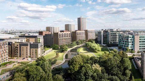 L&Q at Regency Heights development at Park Royal in Brent next to a park and lake