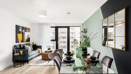 Open plan living room of an apartment at Regency Heights in Brent
