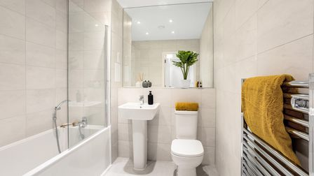 Tiled bathroom with sleek and stylish fittings at Regency Heights in Brent