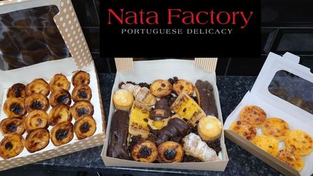 Cake selection boxes at the Nata Factory on Eastbank Street in Southport