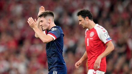 Scotland's Billy Gilmour reacts during the 2022 FIFA World Cup Qualifying match at the Parken Stadiu