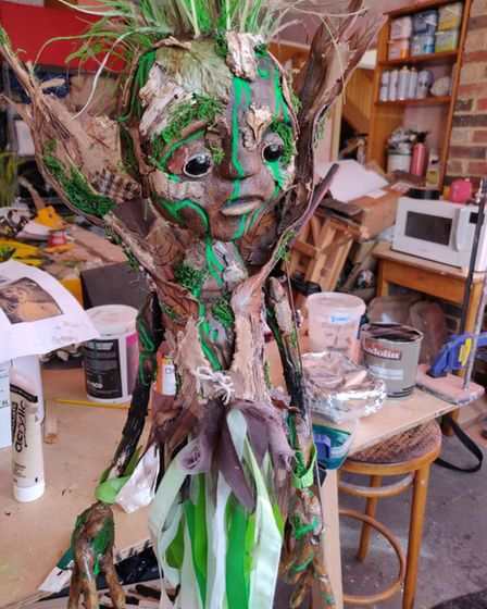 The Green Child puppet for The Wishing Tree