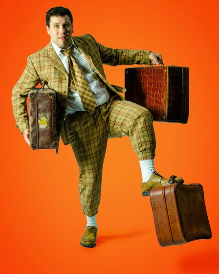 Joseph Betts as Francis Henshall in Sound Ideas production of One Man Two Guvners at the Maddermarket Theatre in Norwich.